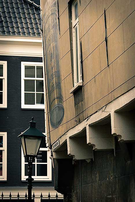 Scheefstaande huizen in binnenstad Gorinchem